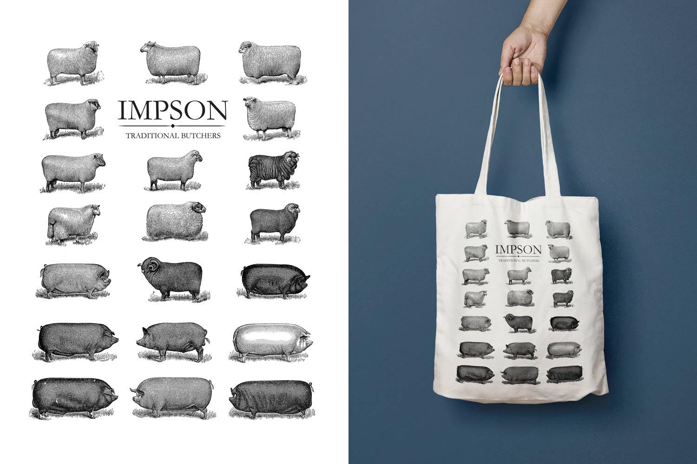 impson butchers tote bag mockup